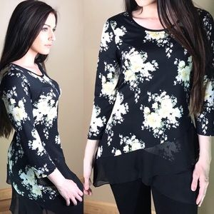 Soft Brushed Floral Mesh Hem Blouse